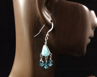 Larimar Earrings, Larimar and Crystal Earrings, Small Chandelier Earrings, Boho Earrings, Aqua Dangle Earrings, Beachy Earrings