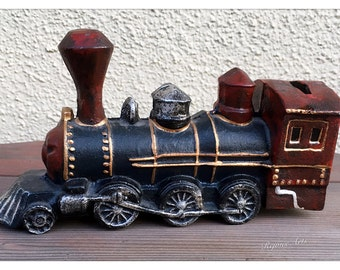 Cast Iron Locomotive Train Coin Bank