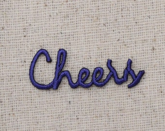Small - CHEERS - Word - Color Choice: Blue, Purple, Green, or Red - Embroidered Patch - Iron on Applique