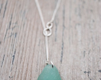 Seafoam Sea Glass Sterling Silver Lariat Necklace