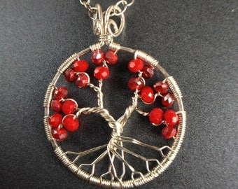 Ruby Tree of Life Necklace • Ruby Pendant • Ruby Necklace • Silver Ruby Pendant • July Birthstone • 40th Anniversary • Gift for Her • 40th