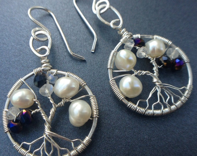 Tree-of-Life Earring Alexandrite Freshwater Pearl Moonstone Earrings 3rd Anniversary Jewelry Sterling Silver Boho Jewelry Women 30th Gift