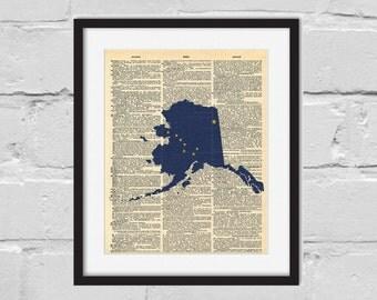 Alaska Print. Dictionary Art Print. Alaska Flag.