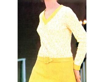Women's Retro V Neck Drop Waist Dress Knitting Pattern from the 60s