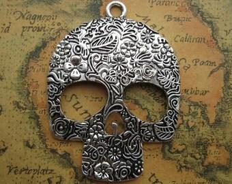 2pcs 49x66mm Skull Head Charms Handmade Jewelry Pendants Accessories M