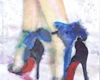 Christian Louboutin Art Fashion Illustration Shoe Watercolour Print, High heels decor Fashion Wall art Fashion Print, Heels fetish Poster