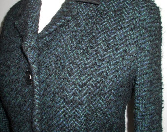 Vintage navy tweed jacket 60s by Glendawn Made in England size small medium