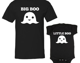 Big Boo & Little Boo Ghost Matching Dad And Baby Father Halloween Baby Daddy Baby Boy Son BLACK T-Shirts Dad And Baby Outfits (VSET70)