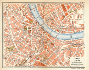 1948 Basel Switzerland Antique Map