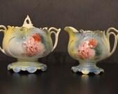 RS Prussia Sugar Bowl Creamer Set Pedestal Form Mold 614 Roses Pattern