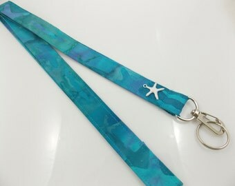 Beach Lanyard Starfish Lanyard Teacher Lanyard Turquoise Lanyard Nautical Lanyard Starfish Charm Ocean Lanyard  Beach Accessory