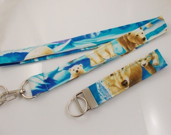 Polar Bears Teacher Lanyard Polar Bear Lanyard Bear Lanyard Bear Key Fob Antarctica Lanyard Teacher Key Fob Polar Bear Key Fob