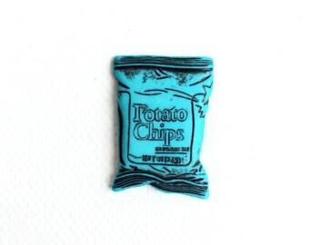 Potato Chip Pin, Potato Chip Bag Pin, Chip Bag Lapel Pin,Potato Chips Tie Tack, Junk Food Pin, Miniature Food, Kawaii