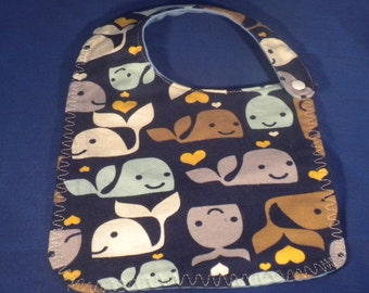 Waterproof Baby Bib  - Made and Ready to Ship - Navy Whale - Decorative Stitching - 3 layers Cotton outer, Flannel inner layer & PUL backing