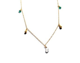 Apatite Faceted Heart Briolettes and Moonstone necklace, 14kt Gold Necklace, Moonstone and apetite necklace, Briolette necklace