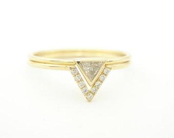 Wedding Set, Triangle Engagement Ring & Wedding Band, Diamond Ring, Pave Diamond Ring,14k Gold Diamond ring