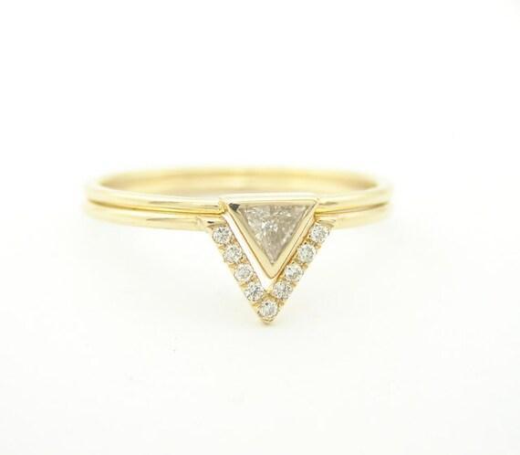 Wedding Set Triangle Engagement Ring Band Diamond