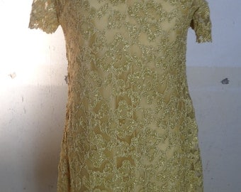 Vintage gold dress lined in gold size 8 FREE SHIPPING