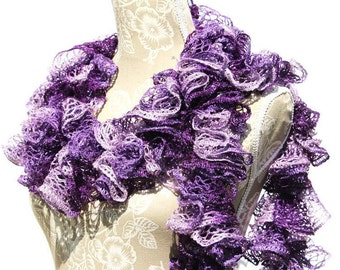 Crochet Ruffle Scarf/Purple Scarf/Sashay Scarf/Frilly Scarf/Ruffle Scarf/Handmade Scarf/Ready to ship/Fashion Scarf/Womans Scarf/Gift