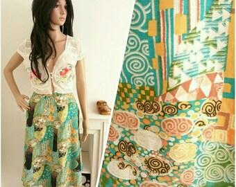 Vintage 60s 70s Green Abstract Boho Cotton Skirt Klimt Inspired Art / UK 10 / EU 38 / US 6
