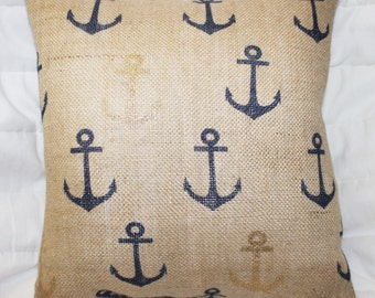 Nautical Pillow   Nautical Decor   Burlap Pillow   Anchor Decor   Outdoor  Decor   Patio