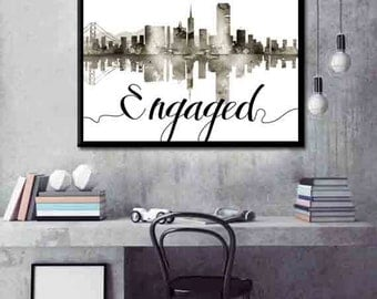 San Fransisco Skyline Engagement Gift Skyline Personalized Gift for a Couple Engagement Present