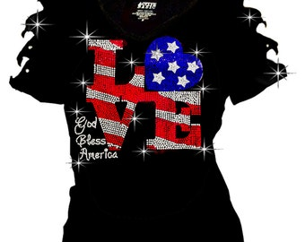 Bling Bling Rhinestones 4th July T-shirt Ripped Slit Cut Out American Flag LOVE S~3XL