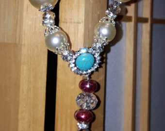 Turquoise, Cranberry  and Pearls Necklace Set
