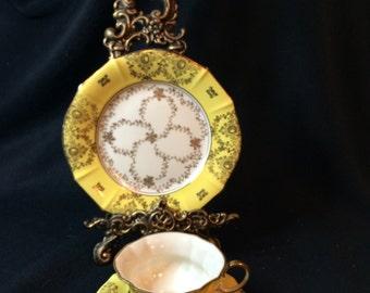3 Piece Fancy LIDNER KUEPS Bavaria, Teacup, Saucer, Dessert Plate