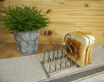 Rack Toasts vintage silver metal for breakfast or tea-time toast holder| 8 Toasts |  Tableware Made in France 1970