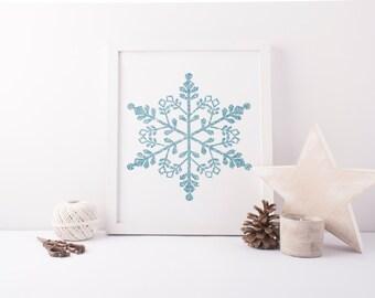 PRINTABLE Art Blue Glitter Snowflake Christmas Decor Christmas Decoration Christmas Wall Art Holiday Decor Holiday Art Print home Decor