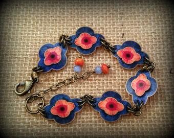 Flower Bracelet - Flower Link Bracelet - Asian Bracelet - Asian Style Bracelet - Shrinky Dink Bracelet - Shrink Plastic Bracelet - FSABR0001