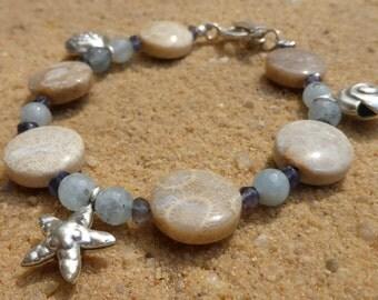 Fossil Coral Bracelet Aquamarine Iolite Hill Tribe Silver Artisan Shell Starfish Sterling Silver Charm Gemstone Designer Beach Bracelet
