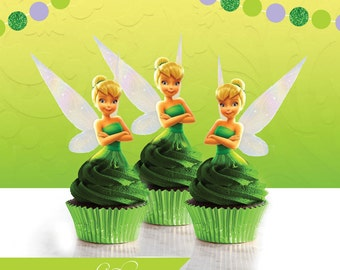Tinker Bell Cupcake Toppers, Tinkerbell Cupcake Toppers, Tinker Bell Cake Topper, Tinkerbell, Tinker Bell Party, Decoration, Birthday Party