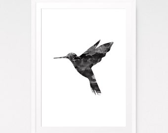 Hummingbird Art, Watercolor Painting, Hummingbird Decor, Black Watercolor, Modern Bird Prints, Hummingbird Print, Digital Nursery Art