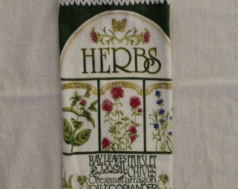 Garden Herbs Hanging Kitchen Towel