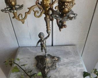 French vintage 4 arm cherub candelabra  Cherub candlestick   Vintage spelter candelabra
