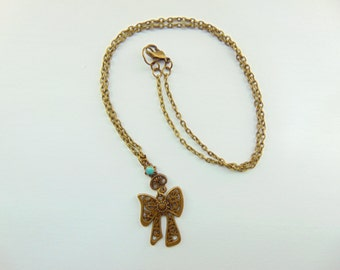 Bronze Bow Chain Necklace
