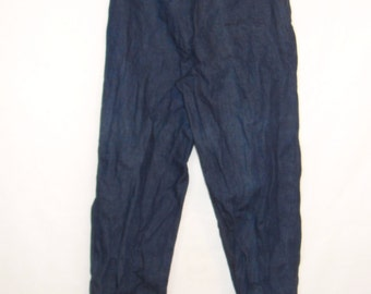 70s Jeans, Vintage Calvin Klein Dark Rinse Denim Harem Pants with Buttoned Cuff Size 13 S Small to M Medium
