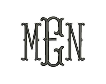 SALE!! Fishtail Monogram Font Machine Embroidery Monogram Alphabet Designs 7 Size Bx Embroidery Fonts - INSTANT DOWNLOAD