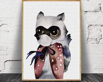 racoon watercolour, artwork, print, nursery art, woodland animal, animal illustration