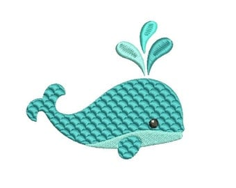 Whale Embroidery Design in Fancy Fill - INSTANT DOWNLOAD