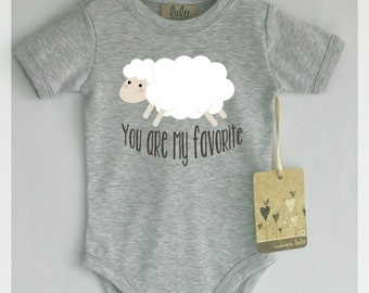 Sheep baby clothes. You are my favorite baby romper. Modern baby clothes.