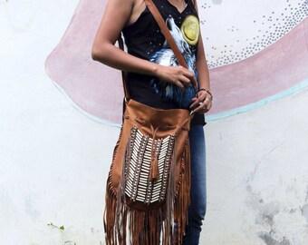 Boho Leather Bag, brown fringe leather purse, boho fringe handbag