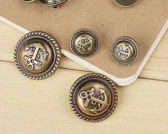 6pcs Bronze Anchor Resin Button,Vintage Shank Resin Button,British Style Button,18mm-25mm,MMSK49
