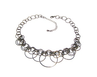 Interlocking Linked Rings Bib Necklace - Steampunk - Modern - Machine Age - Interlocking Circles - Bronze - Gun Metal Bronze