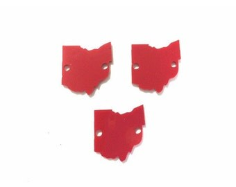 1.5 Inch Two Hole Ohio Blanks in Red - the Ohio State University - wire bangle bracelets jewelry making acrylic blanks cutouts OSU BUCKEYES