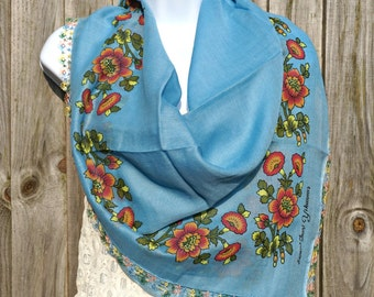 Turkish Yemeni Scarf Blue - Traditional Oya Scarf -  Needle Crochet Yemeni - Handmade Yazma Shawl