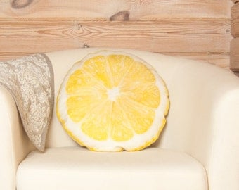 Lemon Yellow Pillow – Realistic Citrus Fruit Cushion, Yellow Lemon Throw Pillow, Kitchen Decor