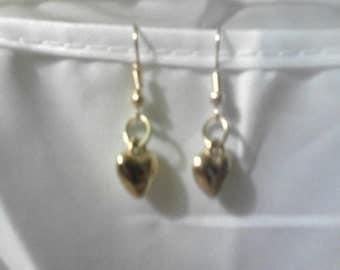 Ladies Puffy Heart earrings on french hooks